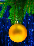 Yellow fir-tree toy Stock Image