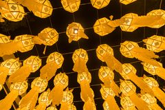 Yellow fire lantern view from under in lantern festival. Yellow fire lantern in lantern festival. Chiang Mai, Thailand Stock Images