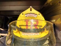Yellow Firefighter Helmet, Junior, Rutherford, NJ, USA Stock Image