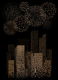 Yellow firework show on night city landscape background. Vector illustration Royalty Free Stock Photography