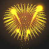 Yellow fireworks during the holiday. On a brown background Stock Images