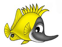 Yellow fish. Color illustration of yellow coral fish royalty free illustration
