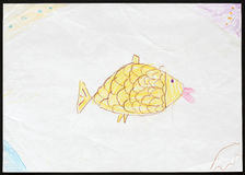 Yellow Fish. Child's Drawing. Original child's drawing of a yellow fish drawn by a five-year-old girl Stock Image