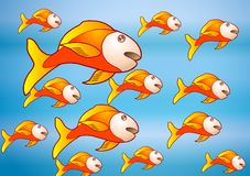 The yellow fish group. Illustration  underwater-Animals of a coral reef Royalty Free Stock Photography