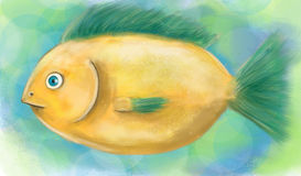 Yellow Fish. Hand drawn artwork - Lemon fish Stock Photo