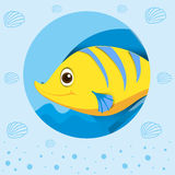 Yellow fish with happy face. Illustration Stock Photo