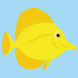 Yellow Fish Isolated On Blue Background. Vector Yellow Fish Isolated On Blue Background Stock Photo