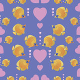 Yellow fish and pink hearts. Seamless pattern.. Colorful fish coral reef aquariums. Design for textiles, wrapping paper, napkins, background for the site Stock Images