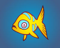 Yellow fish on a sea blue background Royalty Free Stock Photos