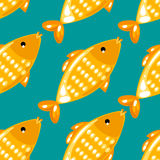 Yellow fish seamless pattern on green background. Endless ornate texture for prints, crafts, textile. Vector illustration Stock Photography