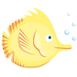 Yellow fish on a white background. Yellow fish with bubble on a white background Royalty Free Stock Photos