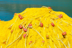 Yellow Fishing Net. In town of Vasilliki, island Lefkada, Greece stock image