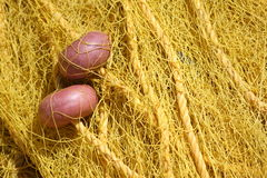 Yellow fishing net Royalty Free Stock Images
