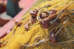 Yellow fishing net, mediterranean sea Royalty Free Stock Image