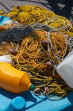 Yellow fishing nets royalty free stock photo