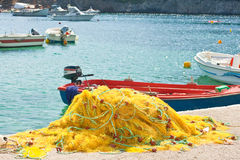 Yellow fishing nets Stock Image