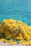 Yellow fishing nets Royalty Free Stock Photography