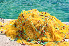 Yellow fishing nets Royalty Free Stock Images