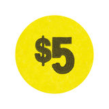 Yellow five dollar garage sale sticker. A bright yellow generic five dollar garage sale sticker isolated on a white background Royalty Free Stock Photography