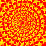 Yellow five-pointed star on red background - vector pattern, Stock Image