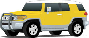 Yellow FJ Cruiser. An illustration of a Toyota FJ Cruiser SUV isolated on white. Saved in labeled layers for easy editing. See my portfolio for more automotive vector illustration
