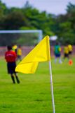 Yellow flag. On a football field stock photos