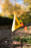 Yellow Flag Marker. Utility Line Yellow Flag Marker Royalty Free Stock Images