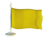 Yellow flag on metal shiny flagpole Royalty Free Stock Photo