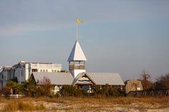 Yellow Flag Over Condo Beach Entrance Royalty Free Stock Photo