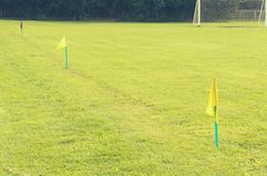 Yellow flags on the green grass of a football playing field. Stock Photo