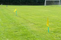 Yellow flags on the green grass of a football playing field. Royalty Free Stock Images