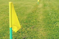 Yellow flags on the green grass of a football playing field. Royalty Free Stock Photos