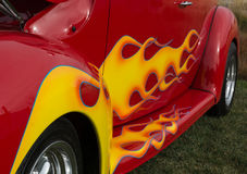 Yellow Flame on Red Hot Rod Royalty Free Stock Photo