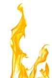 Yellow flame spark isolated on white Stock Photos