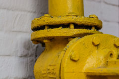 Yellow flanged connection Stock Photos