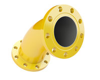 Yellow flanged tube for connection industrial equipment. Stock Photography