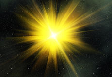 Yellow flash on a space backgrounds Stock Image