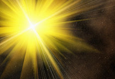 Yellow flash on a space stars backgrounds Stock Photo