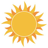 Yellow flat abstract sun burst icon isolated on white background Stock Photography
