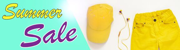 Yellow flatlay jeans, baseball cap and headphones top view. Summer Sale website header banner background template