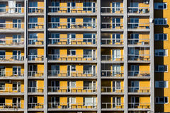 Yellow flats of block. With balconies Royalty Free Stock Photography