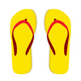 Yellow flip flop with red striped on white Royalty Free Stock Photography