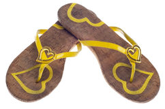 Yellow Flip Flop Sandals with Hearts Royalty Free Stock Images