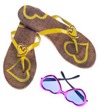 Yellow Flip Flop Sandals with Sunglasses Royalty Free Stock Photos