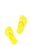 Yellow flip flop shoes isolated on white Royalty Free Stock Photography
