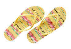 Yellow  flip flops Stock Image