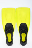 Yellow flippers for diving royalty free stock images