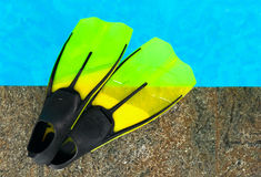 Yellow flippers. At edge of blue swimming pool Royalty Free Stock Photo