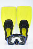 Yellow flippers and mask for diving Stock Photo