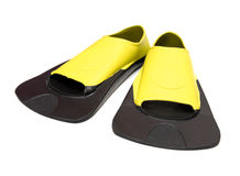 Yellow Flippers for swimming. On white background Stock Photos